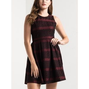 New With Tag Akira Lace Red & Black Skater Dress